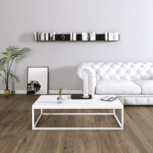 Mesa Centro Casia Rectangular Blanco Nórdico con metal blanco