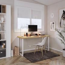 Medidas Mesa con patas metálicas blancas y tablero madera