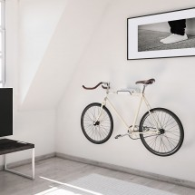 Soporte Bicicletas Pared en metal Blanco con Bici y Casco