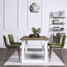 mesa tablero rústico y patas metálicas