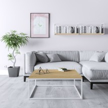 Mesa Centro Casta en color Roble Miel  con metal blanco