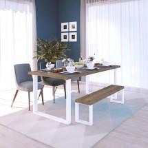 mesa tablero rústico y patas blancas