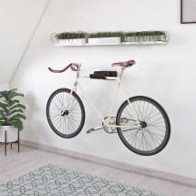 Soporte Bici Pared - Metal Negro con Bicicleta y Casco