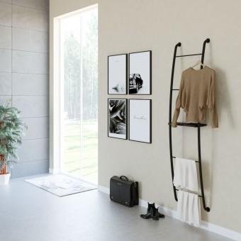 Mueble organización estantería escalera negro