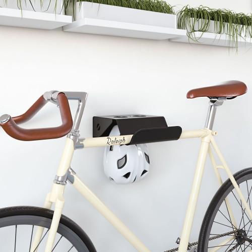 Soporte Bicicletas Pared en metal Negro con Bici y Casco