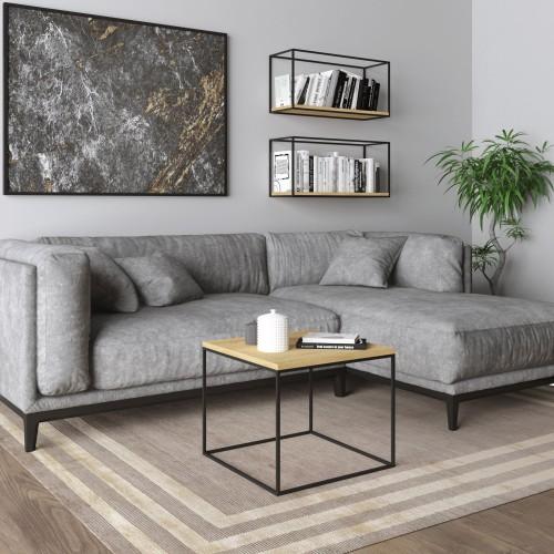 Mesa Auxiliar Tymon color Roble Miel con metal negro de sofá