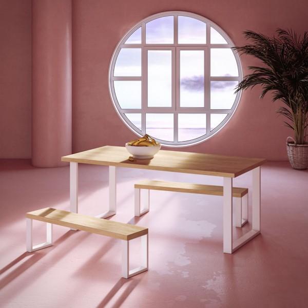 Mesa y bancos Glossy Rose