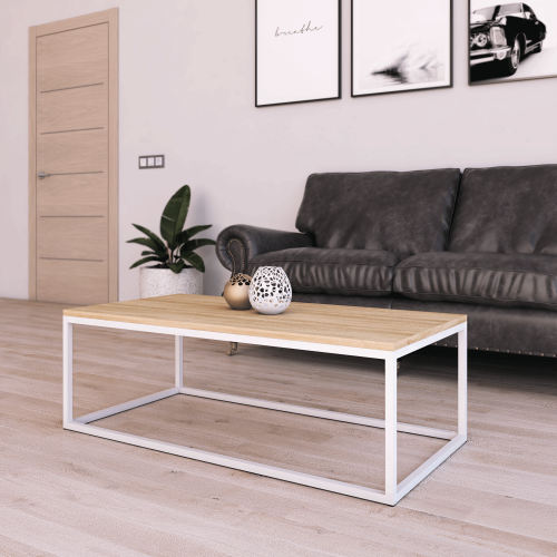Mesa Centro Casia Rectangular Roble Miel con metal blanco