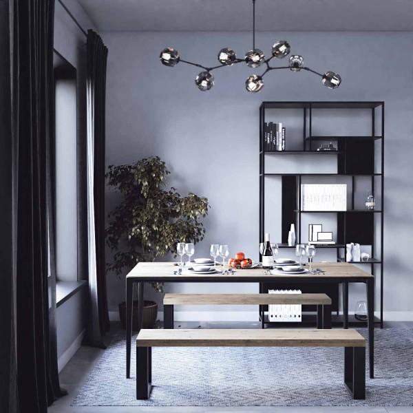 Conjunto bancos y mesa tablón madera