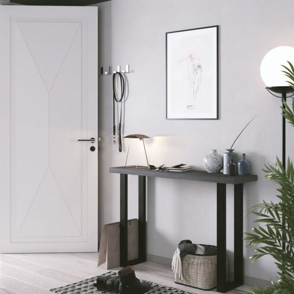 Mesa madera y metal pared patas negras
