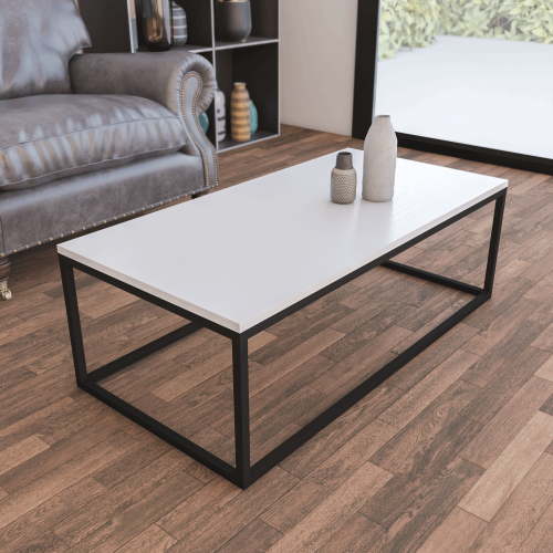 Mesa Centro Casia Rectangular Blanco Nórdico con metal negro